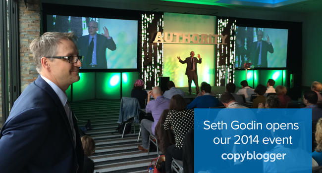 image of Seth Godin opening Authority Intensive 2014 while Brian Clark looks on — this week is your last week to get the Early Bird Price on tickets to Authority Rainmaker 2015