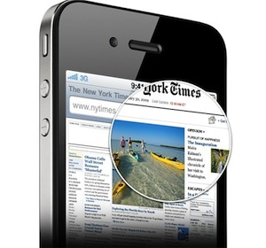 Image of NY Times on iPhone