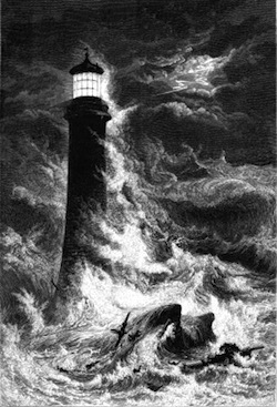 image of lighthouse in storm