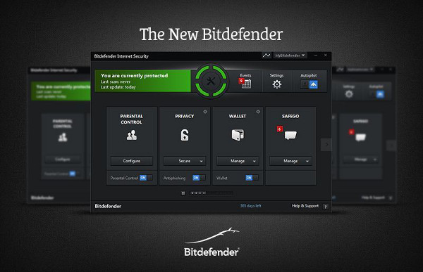 Interfaccia utente Bitdefender Internet Security principale