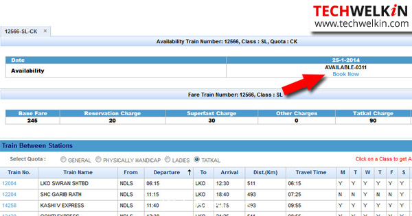 Tatkal Stato Booking on IRCTC Sito
