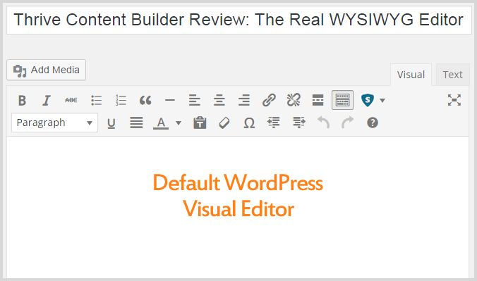 Default WordPress editor di Visual