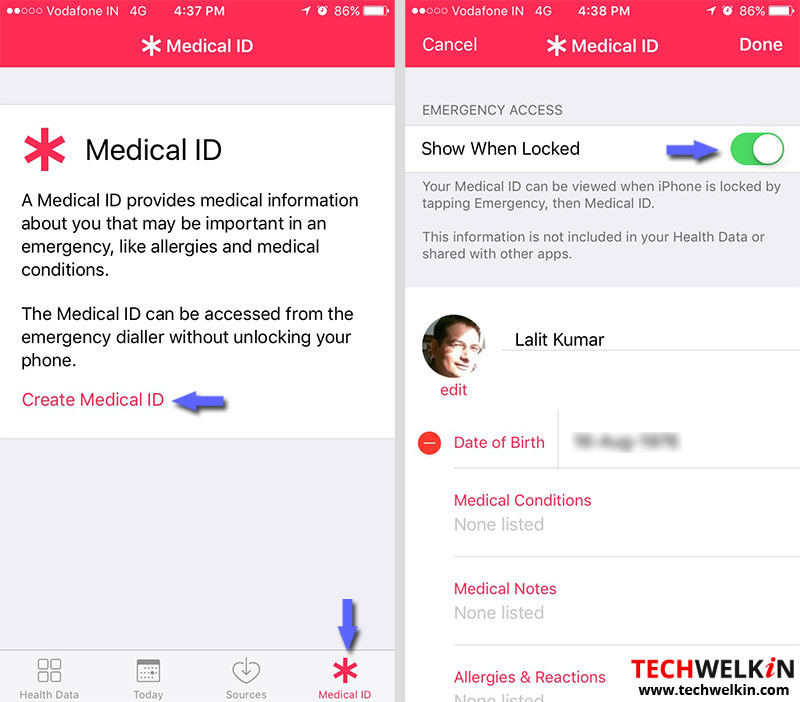 creare id medica in iPhone