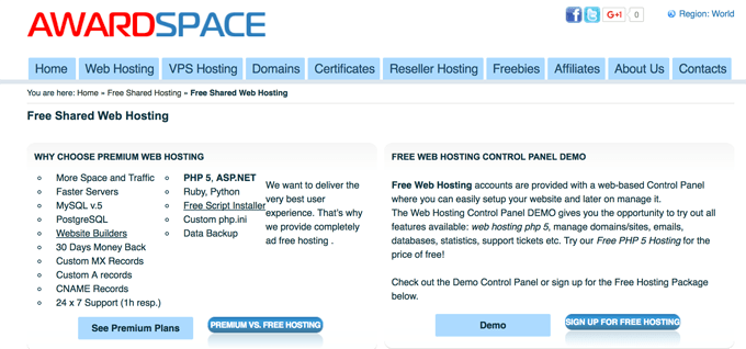 AwardSpace Free Shared Web Hosting